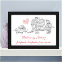 PERSONALISED Mummy and Son Daughter Elephant Friends Christmas Birthday Gifts