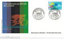 1989 ENVELOPPE ILLUSTRE FDC 1°JOUR*CHAMPIONNATS DU MONDE-CYCLISME*TIMBRE Y/T2590
