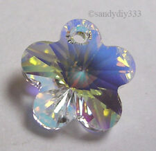 2x SWAROVSKI 6744 CLEAR CRYSTAL AB FLOWER CHARM 18mm