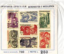 astronautica cecoslovacchia ceskoslovensko foglio francobolli originale anni 60