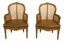 30631EC: Pair French Louis Cane Back Vintage Arm Chairs