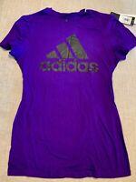 ADIDAS Womens Go To Short-Sleeve Tee/T-Shirt w/Logo 3706W Size S - Purple/Black
