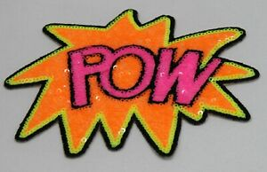 Sequin Patch: Orange and Pink POW