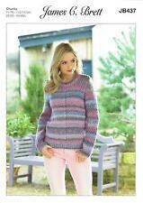 5d74689b1d61 James C Brett JB437 Knitting Pattern Womens Sweater in Marble Chunky