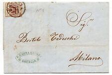 ANTICHI STATI 1855 LOMBARDO VENETO 30 CENT. BRESCIA 17/12 N° RIF 9448