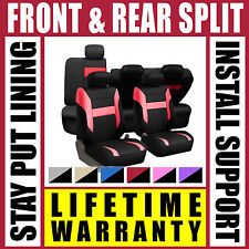 Red & Black Complete Full Car Seat Covers Set - OEM Split Fold Truck SUV Gr4467