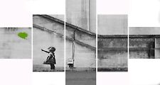 Large 5 Panel Set Lime Banksy Balloon Girl Hope Canvas Picture Wall Art Prints