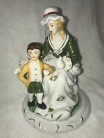 Vintage Ceramic Victorian Lady Sitting Woman Figurine With young boy by her side