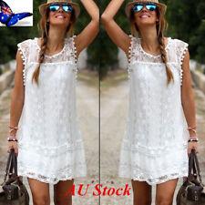 AU Plus Size Womens Casual White Lace Vest Dress Holiday Summer Beach Mini Dress