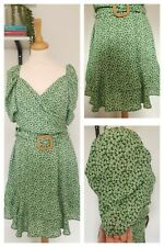 Asos Floral Green Statement Sleeve Belted Wedding Occasion Flare Garden Party 14