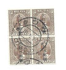 Burma J.O. block of Perak 5c with Kanji opt used Kalaw 18.9.24