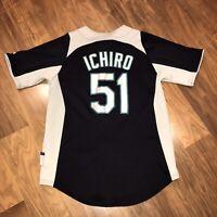 Majestic SEATTLE MARINERS Ichiro Suzuki Baseball Jersey YOUTH MEDIUM vtg MLB
