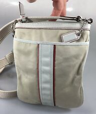 Coach F10709 Off-White Fabric White Red Small Cross-Body Shoulder Bag Handbag