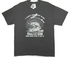 Just Hold My Rod Wiggle My Worm Bam Shes on it Mens Large T-Shirt Fishing Humor