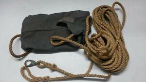 1 dänisches Seil m.Karabiner u. Tasche ca. 16 m / 10 mm gebr.Armee Pioniere