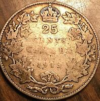1913 CANADA SILVER 25 CENTS COIN QUARTER