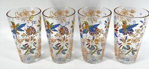 4 Glass Tumblers 16oz Floral Lady Bug Hummingbird Temp-Tations Drinking Beverage