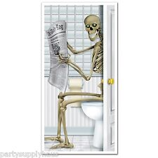 Halloween SKELETON Restroom BATHROOM DOOR COVER Haunted House Party Decoration