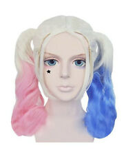 Batman Suicide Squad Harley Quinn Cosplay Twintails Ponytails Bunches Wavy Wig
