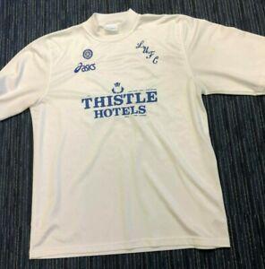 Leeds United Shirt EXTRA LARGE XL LUFC White Thistle Hotels 1990s AASICS YEBOAH