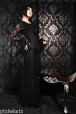 Full Length Victorian Lace Skirt With Ribbon Lacing Black Gothic J020011