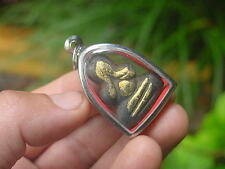 AUTHENTIC Monk Thai Buddha Amulet Pendant THIALAND BUDDHIST DOUBLE SIDED 3 PAINT