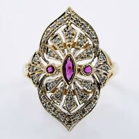 Gold Ring With Diamonds & Rubies