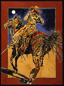 She Held the Line by Michael Swearngin Western Cowgirl On Horseback 40x30 Canvas