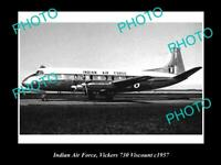 OLD POSTCARD SIZE AVIATION PHOTO OF INDIAN AIR FORCE VICKERS VISCOUNT c1957