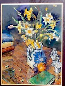 Artist David Beech Original Pastel Still Life Spring Flowers In Mount Frame