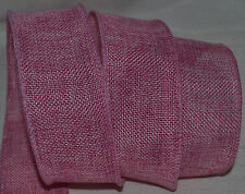 Wired Ribbon~Rustic Holiday Pink Burlap~Country~Primitive~Wreath~Gift~Craft~Bow