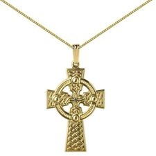 New Mens Gold Celtic Traditional Round Head Cross Necklace Jewellery