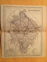 KE) Antique Original 1842 Warwickshire England County Map Modern Geography