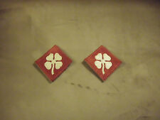 VTG Pair WWII WW2 World War 2 White Clover Patches 4th Army Shoulder Insignia