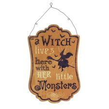 Heaven Sends Metal Halloween Wall Art 'A Witch & Her Monsters' Metal Plaque