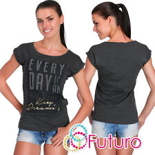 Casual Sequined T-Shirt Every Day Print Graphite Top Party Tunic Size 8-12 FB256