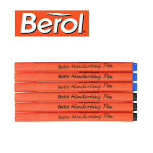 6 x Berol Handwriting Pens - Available in Blue or Black