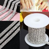 1-row/2-row/3-row 1 Yard DIY Silver Crystal Rhinestone Close Chain Trim Fashion