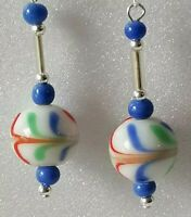 Sterling Silver Deco Czech Glass Feather Blue Red White Bead 925 Dangle Earrings