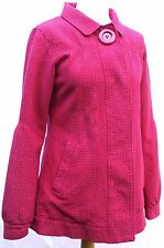 Animal raspberry pink & white spotted cotton mix retro 60s style jacket UK 10