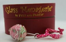 Fitz and Floyd Glass Menagerie Pink Baby Rattle Glass Figurine in Box