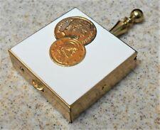 Vintage Portable Pocket Brass Ashtray Unused Napoleon Coins on Enamel