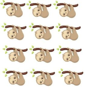 """Hanging Sloth Cupcake Toppers Edible Image 2"""" Frosting Circles"""