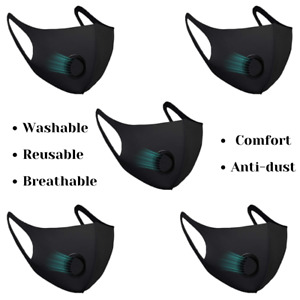 5 X Black Facemasks with Filter