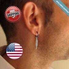 Mens Dangle Earring Feather Earring For Men, Unisex Hoop Earring Mens Earring