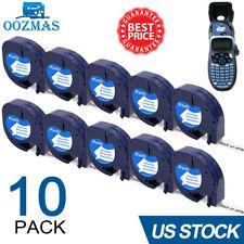 10pk Compatible Dymo Letratag Refill 91331 White Plastic Label Tape Lt 100h 12