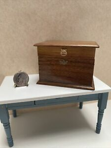 Dollhouse Miniature Vintage Artisan Signed Wooden Compartment Storage Chest 81'