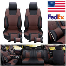 Microfiber Leather 5-Seats Car Seat Cover Front+Rear Cushion Mat W/Pillow M Size