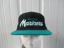 VINTAGE NIKE MLB SEATTLE MARINERS SCRIPTED LOGO SEWN STRAPBACK CAP HAT 90s BLK