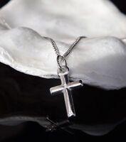 Kinder Sterlingsilber 925 Klein Kreuzanhänger 16'' Halskette Geschenkkarton UK